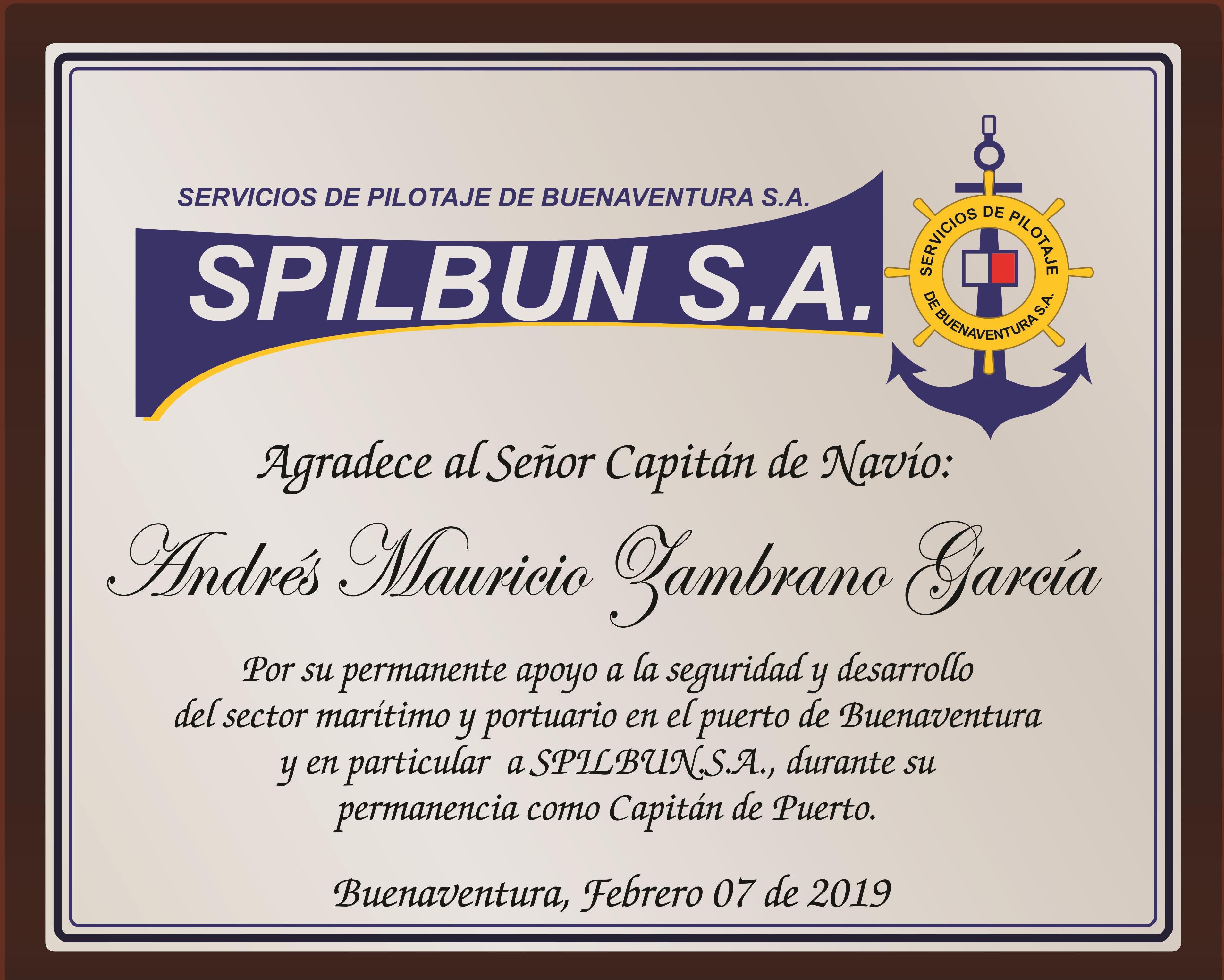 PLACA CAPITAN ANDRES MAURICIO ZAMBRANO